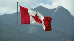 Canadian flag at the canmore nordic center, alberta canada Stock Footage