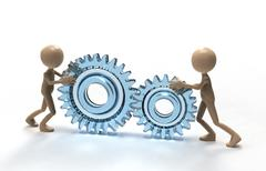 teamwork with gears - stock illustration