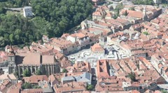 Aerial view of the Council Square of Brasov Stock Footage