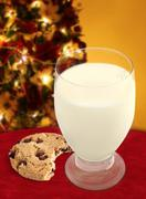 Chocolate Chip Cookie and Milk for Santa - stock photo