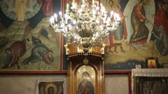 Church of St. Petka (central chandelier) Stock Footage
