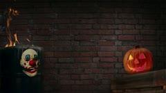 Halloween Title Background | brick wall w/ pumpkin, fire and clown mask Stock Footage