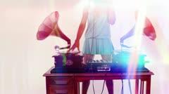 Stylish female dj retro gramophones Stock Footage