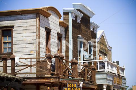 Stock photo of far west several buildings view