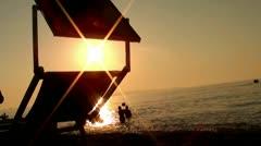 Beach volley on sunset Stock Footage