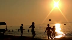 Beach volley on sunset - stock footage