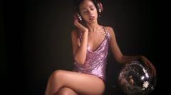 Sexy girl dance music party gogo woman disco Stock Footage