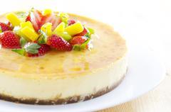 passion fruit cheese cake - stock photo