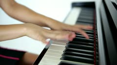 Dolly shot of professional piano player Stock Footage