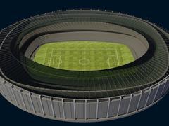 Olympic stadium with soccer field on dark background Stock Illustration