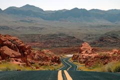winding desert mountain highway - stock photo