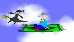 FLYING CARPET vs.BROOMSTICK Stock Footage