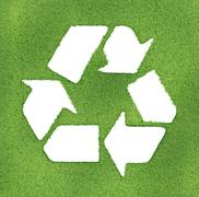 recycle symbol made on grass outlines. 3d image render. - stock illustration