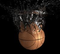 Basketball falls into water Stock Illustration