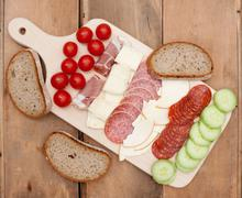 salami and cheese - stock photo