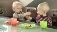 Stock Video Footage of twins feeding each other
