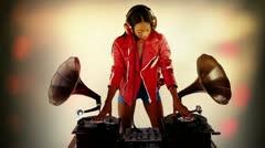 stylish female dj vintage gramophones - stock footage