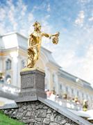 statue of perseus, petergof, saint petersburg, russia - stock photo