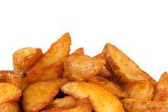 fried potato wedges. fast food - stock photo