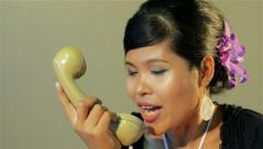 Retro secretary -woman getting angry on the phone & hanging up in vintage office Stock Footage