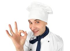 Chef making ok sign Stock Photos