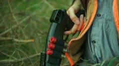 Hunter shotgun close hunting Stock Footage