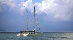 Boats in Tuscan Sea - stock footage
