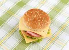 fast food sandwich with lettuce, ham and cheese - stock photo