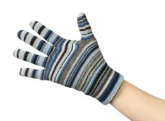 hand in a blue woollen glove on a white background - stock photo