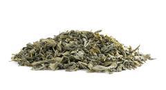 dried green tea leaves - stock photo