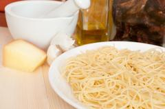 cooking of spaghetti - stock photo