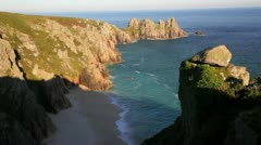 Logan Rock headland, Porthcurno, Cornwall - stock footage