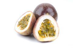 halved passion fruit - stock photo