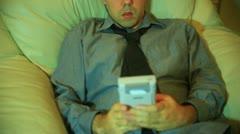 Playing gameboy retro gaming Stock Footage