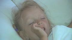 Sleeping Little Girl, Sleeping Child Sucking Thumb, Habits of Children  Stock Footage
