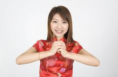 Chinese new year girl Stock Photos