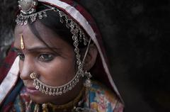 Portrait of a india rajasthani woman Stock Photos