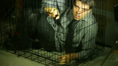 stressed business man in cage - stock footage