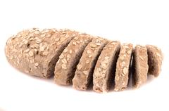 organic oats loaf on white background - stock photo