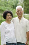 senior asia couple - stock photo