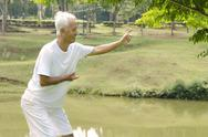 Stock Photo of asian senior performing taichi