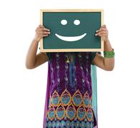 asian indian girl on doodle - stock photo