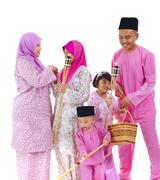 malay raya family - stock photo