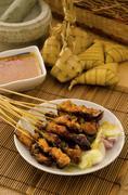 satay and malaysian foods - stock photo
