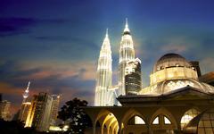 Kuala lumpur urban night view Stock Photos