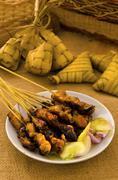 satay malay hari raya foods ,focus on satay - stock photo