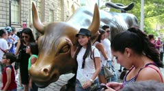 NYSE Bull sculpture Stock Footage
