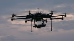 Drone, 8-engine unmanned aerial vehicle (UAV), hovering, #1 Stock Footage