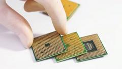 Some computer processor (CPU) over white - stock footage