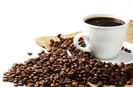 Stock Photo of coffee cup coffee beans and jute